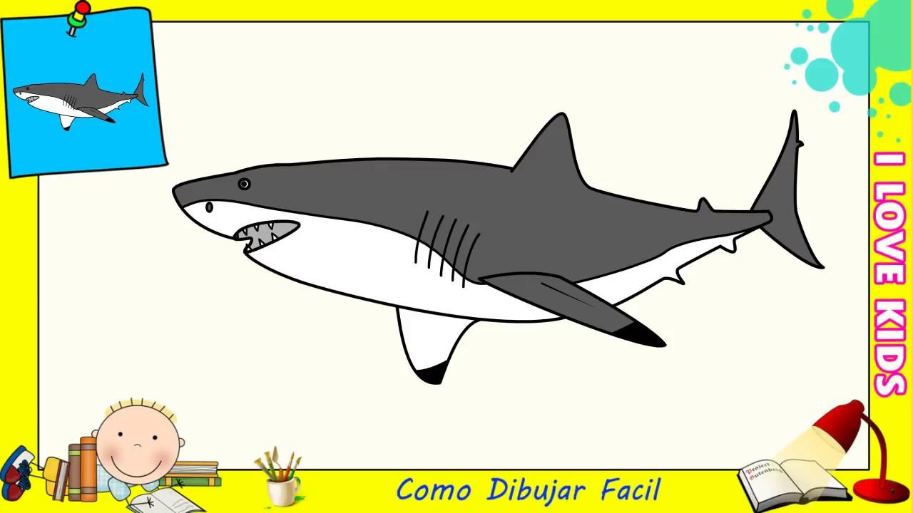 Como dibujar un tiburon FACIL paso a paso para niños y principiantes 8, dibujos de Un Tiburón, como dibujar Un Tiburón paso a paso