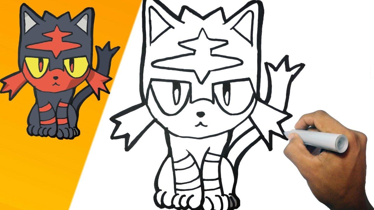 Como dibujar a Litten (Pokemon) Paso a paso how to draw Litten step by step, dibujos de Un Pokémon, como dibujar Un Pokémon paso a paso