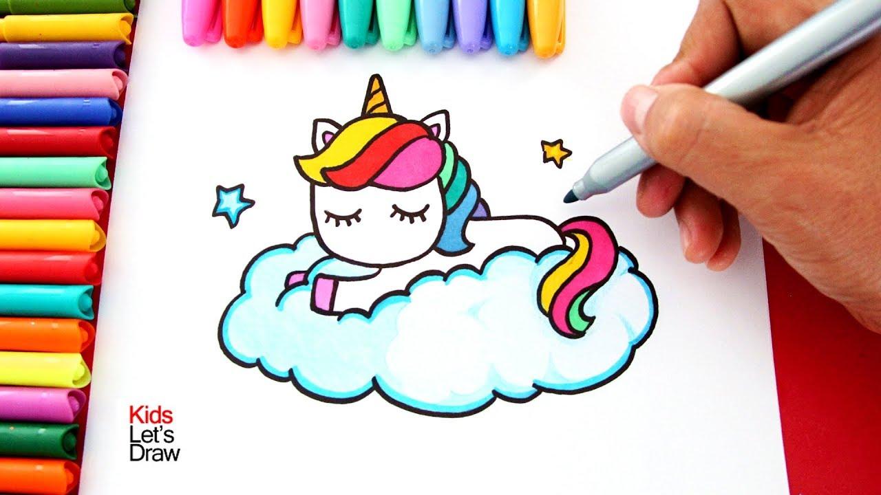 Aprende a dibujar un UNICORNIO ARCOIRIS sobre una Nube estilo Kawaii KidsLetsDraw, dibujos de Un Unicornio De Arcoíris, como dibujar Un Unicornio De Arcoíris paso a paso