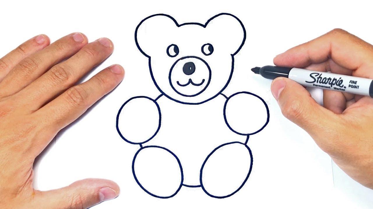 Cómo dibujar un Osito de Peluche Paso a Paso y fácil, dibujos de Un Oso Para Niños, como dibujar Un Oso Para Niños paso a paso