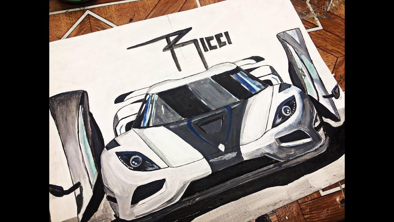Car drawing Koenigsegg Agera - Acrylic Painting, dibujos de Un Koenigsegg Agera R, como dibujar Un Koenigsegg Agera R paso a paso