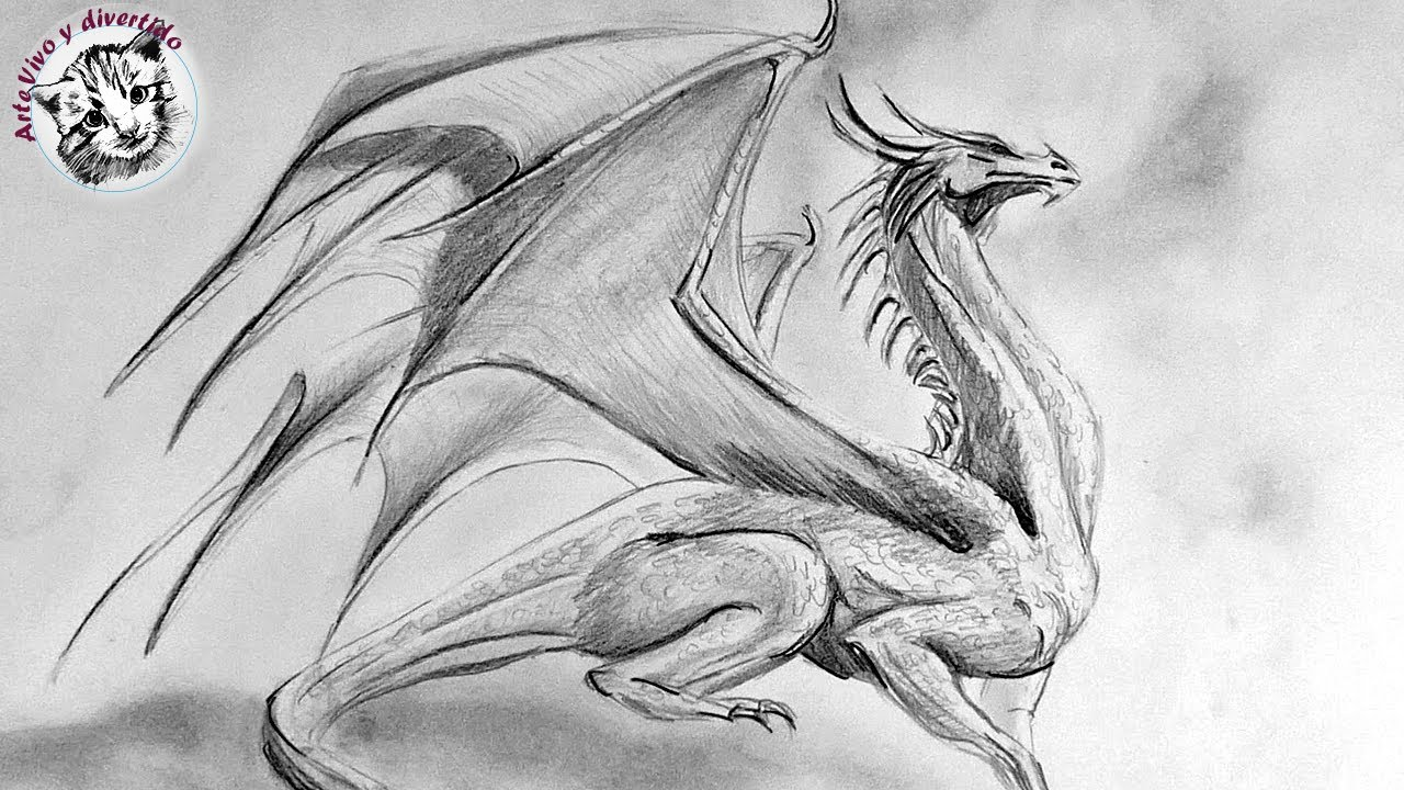 How to Draw a Dragon with Pencil Step by Step (narrated in spanish), dibujos de Un Dragón A Lápiz, como dibujar Un Dragón A Lápiz paso a paso