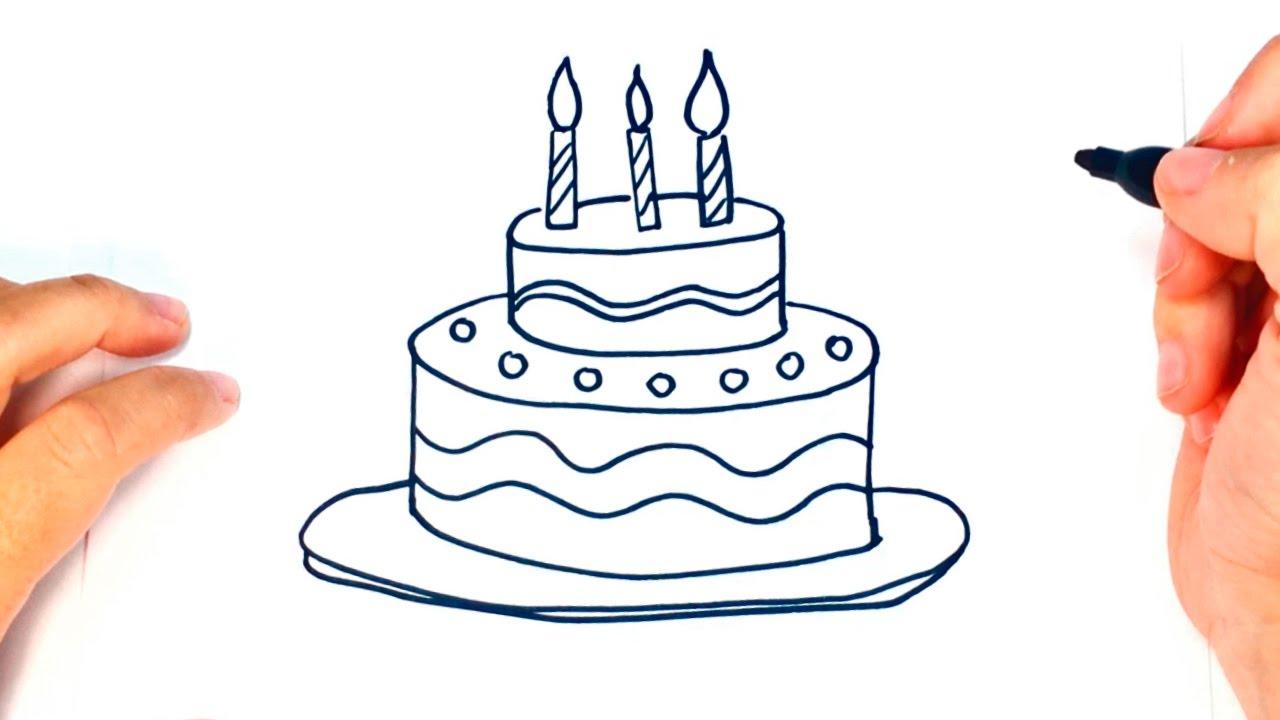 Cómo dibujar una Tarta de Cumpleaños paso a paso  Dibujo fácil de Tarta de  Cumpleaños, dibujos de Una Tarta De Cumpleaños, como dibujar Una Tarta De Cumpleaños paso a paso