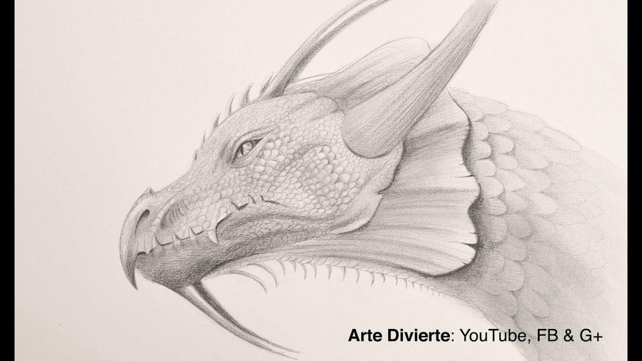 Cómo dibujar una cabeza de dragón a lápiz, dibujos de Un Dragón A Lápiz, como dibujar Un Dragón A Lápiz paso a paso