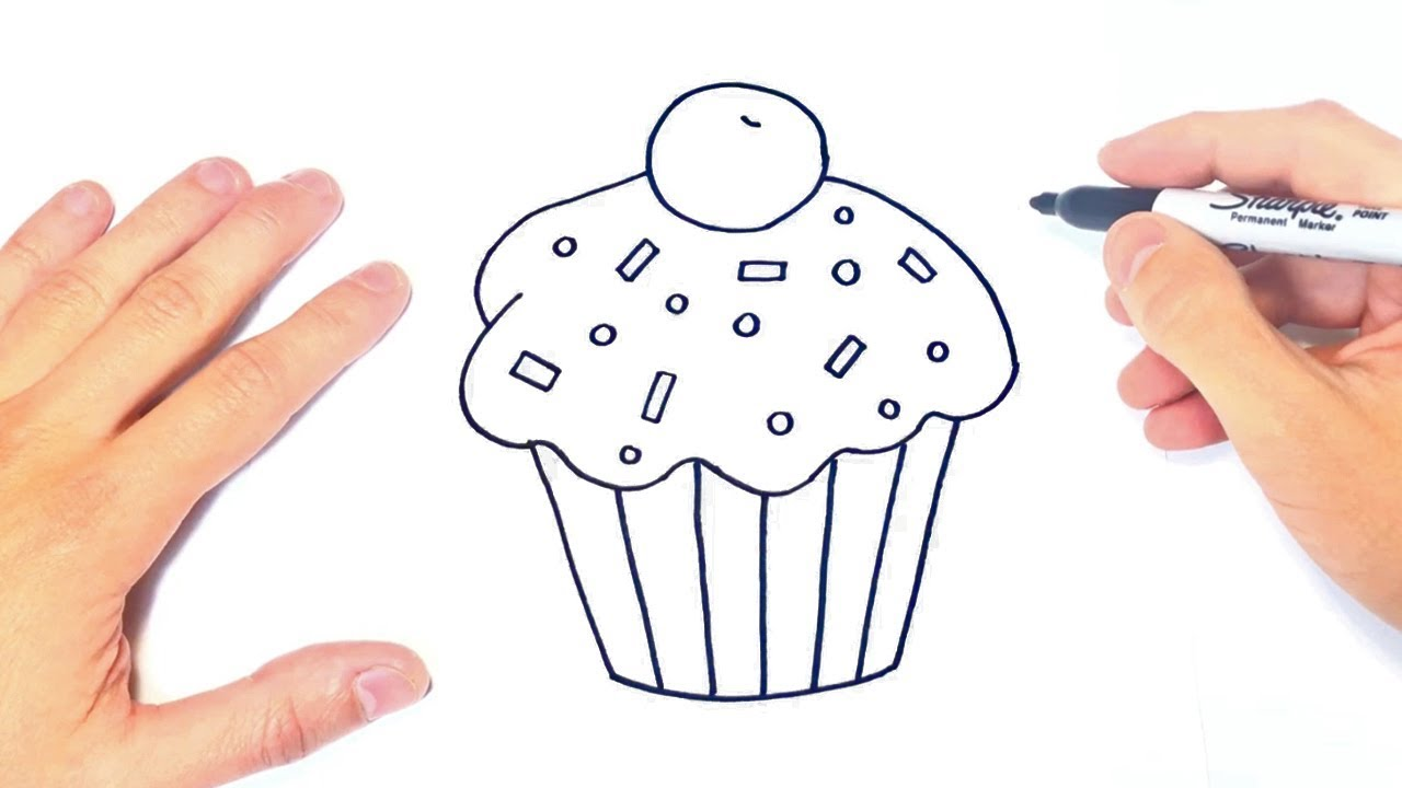 Cómo dibujar un Cupcake Paso a Paso Dibujo de Cupcake, dibujos de Un Cupcake, como dibujar Un Cupcake paso a paso