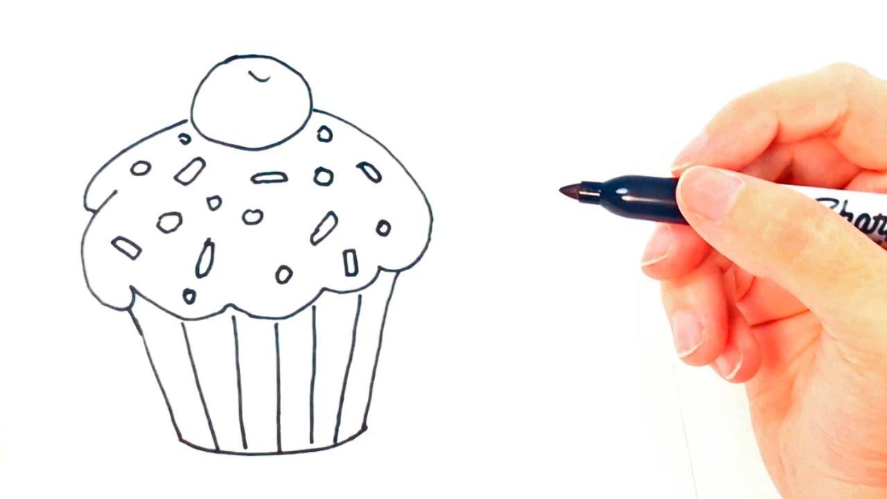 Cómo dibujar un Cupcake paso a paso Dibujo fácil de Cupcake, dibujos de Un Cupcake, como dibujar Un Cupcake paso a paso