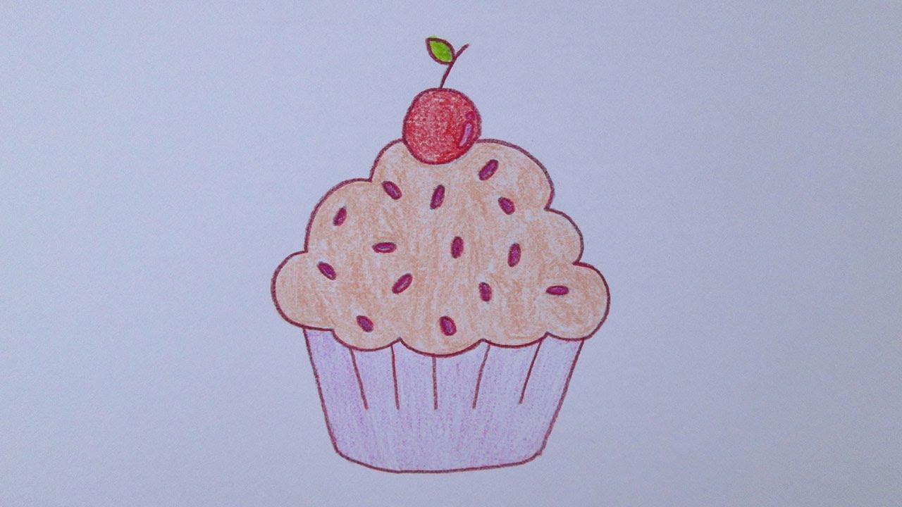 Cómo dibujar un cupcake, dibujos de Un Cupcake, como dibujar Un Cupcake paso a paso