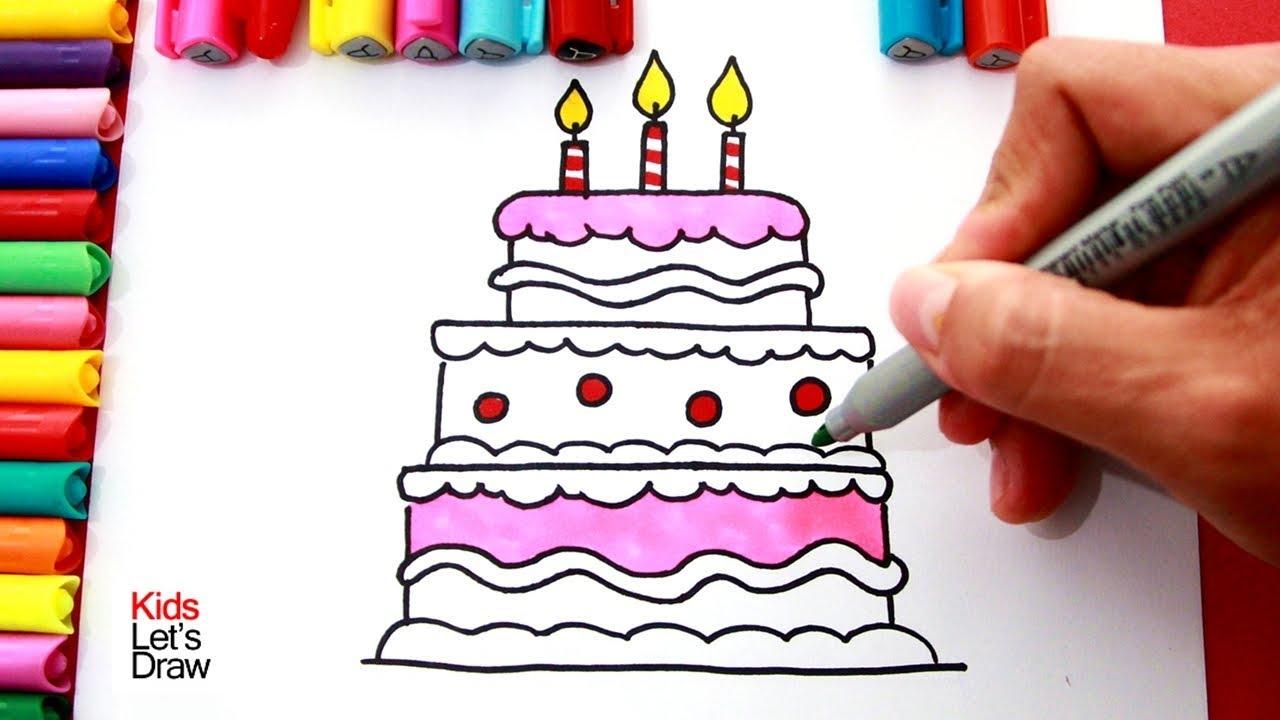Cómo Dibujar y Colorear una TORTA de Cumpleaños de 3 Pisos de muchos colores, dibujos de Una Tarta De Cumpleaños, como dibujar Una Tarta De Cumpleaños paso a paso