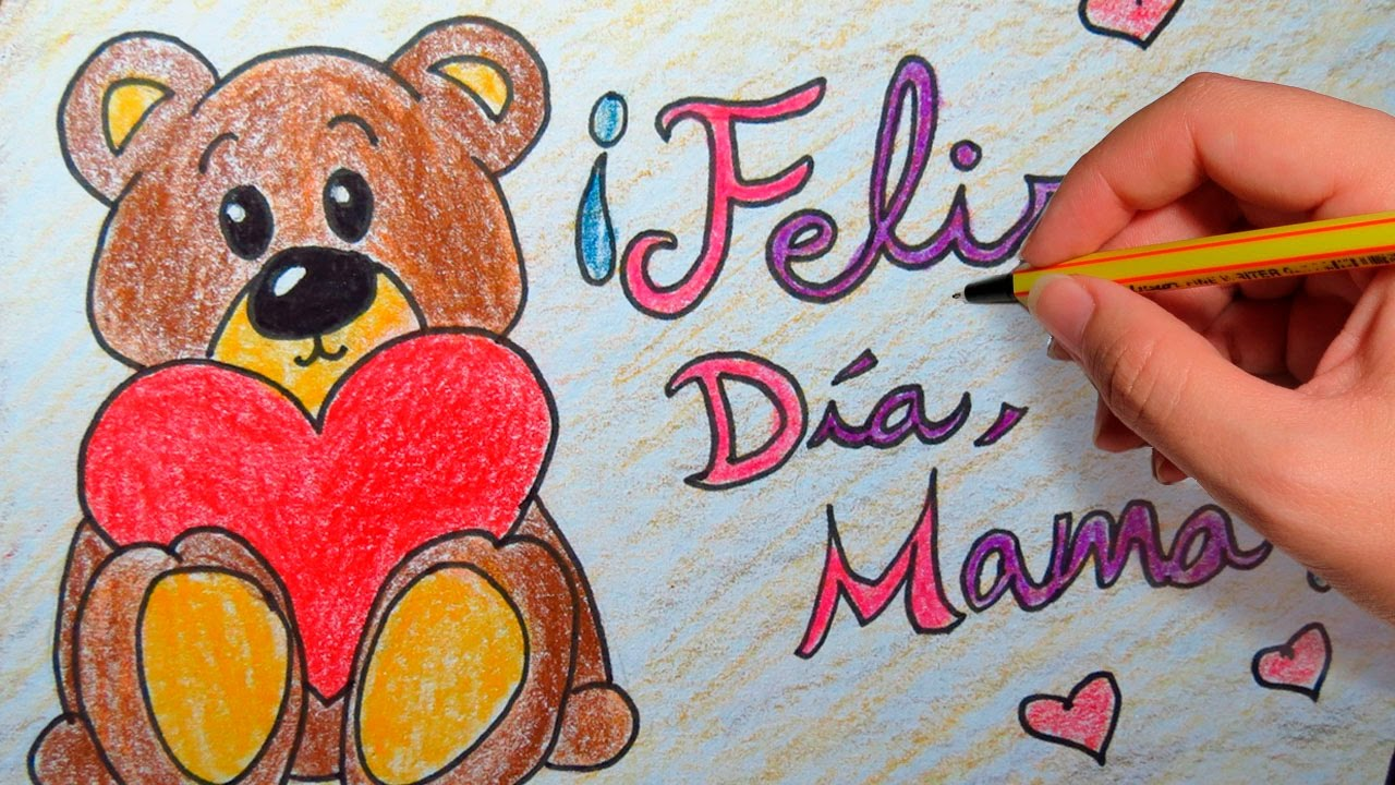 REGALO PARA EL DIA DE LA MADRE: Dibuja tu tarjeta para el dia de la madre, dibujos de Una Tarjeta Para El Día De La Madre, como dibujar Una Tarjeta Para El Día De La Madre paso a paso