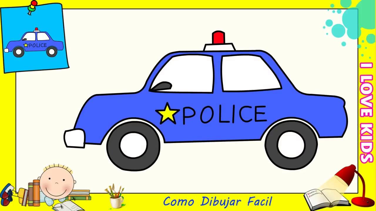 Como dibujar un carro de policia FACIL paso a paso para niños y  principiantes 1, dibujos de Un Coche De Policía, como dibujar Un Coche De Policía paso a paso