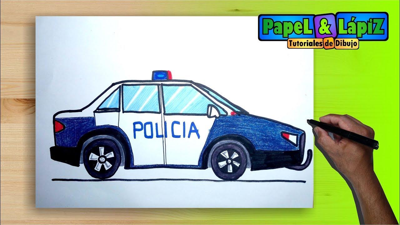 Cómo dibujar y pintar un carro de policía, dibujos de Un Coche De Policía, como dibujar Un Coche De Policía paso a paso