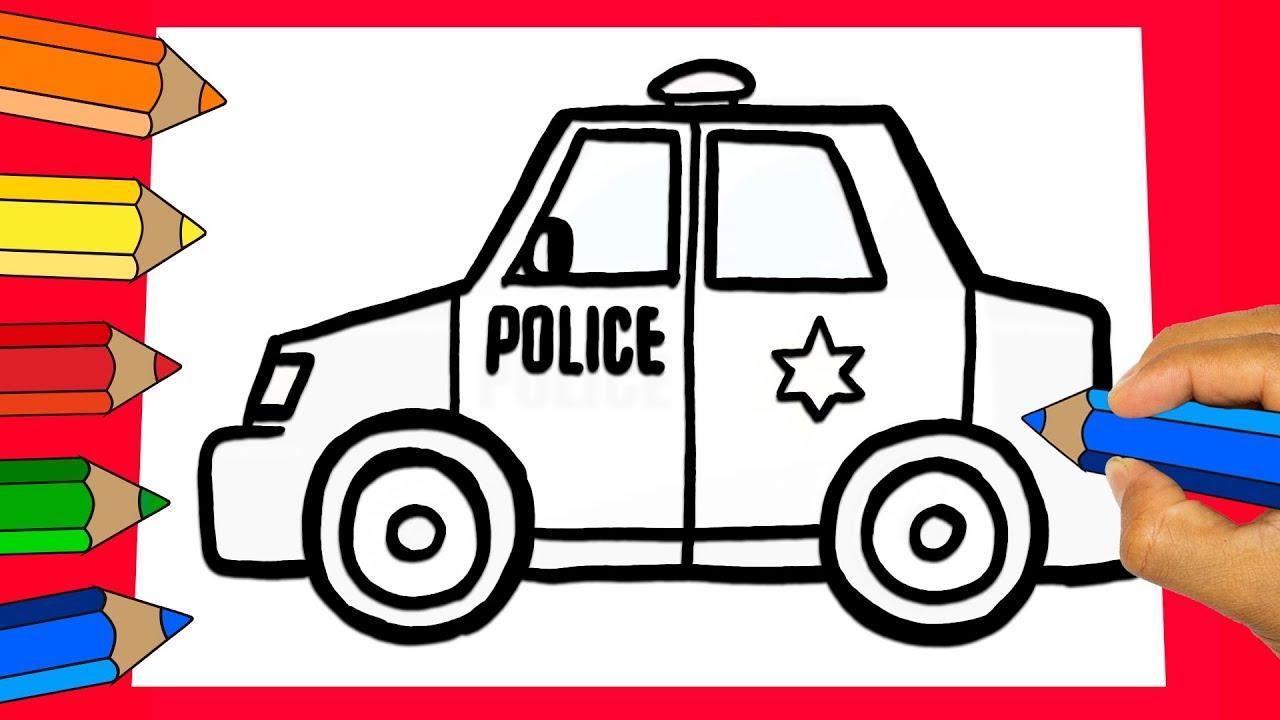 Como Dibujar y Pintar un carro de POLICIA PARA NIÑOS│How to Draw and paint  a police car for children, dibujos de Un Coche De Policía, como dibujar Un Coche De Policía paso a paso