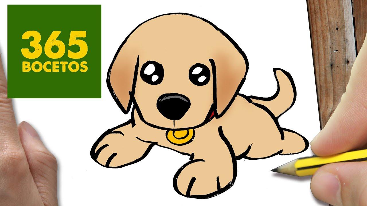 COMO DIBUJAR UN PERRO LABRADOR PASO A PASO: Os enseñamos a dibujar un perro fácil para niños, dibujos de Un Cachorro, como dibujar Un Cachorro paso a paso