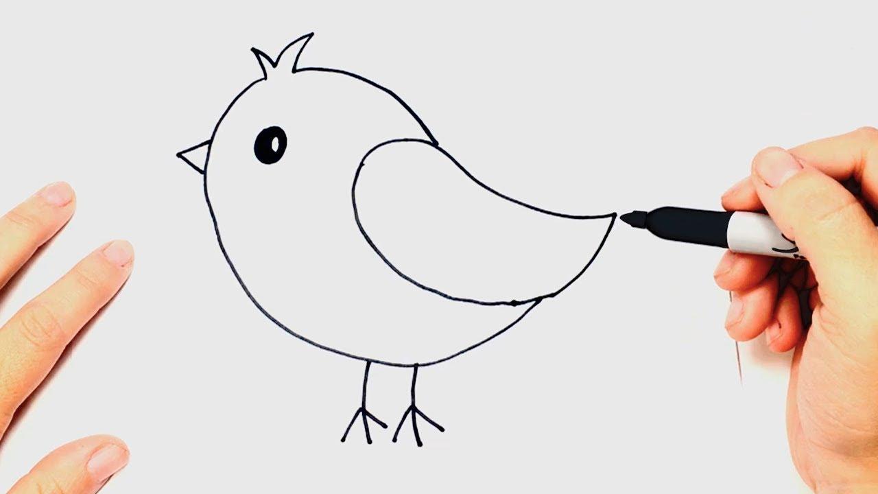 Como dibujar un Pájaro muy fácil Paso a Paso, dibujos de Un Ave, como dibujar Un Ave paso a paso