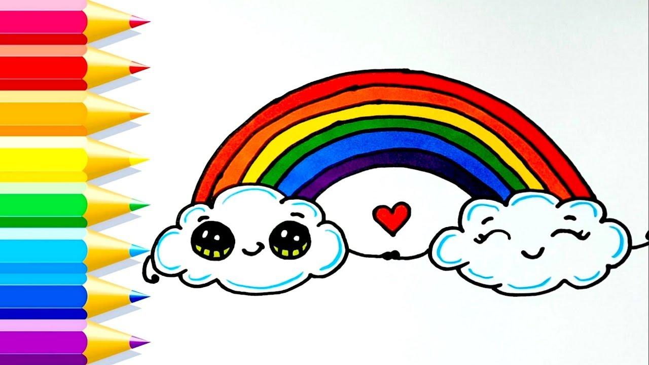 Cómo dibujar NUBES ARCOIRIS KAWAII paso a paso fácil 💙 Dibujos para Niños, dibujos de Un Arcoíris, como dibujar Un Arcoíris paso a paso