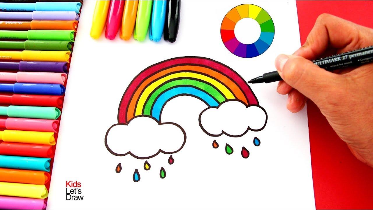 Cómo dibujar NUBES ARCOIRIS (paso a paso) fácil - Dibujos para Pintar, dibujos de Un Arcoíris, como dibujar Un Arcoíris paso a paso