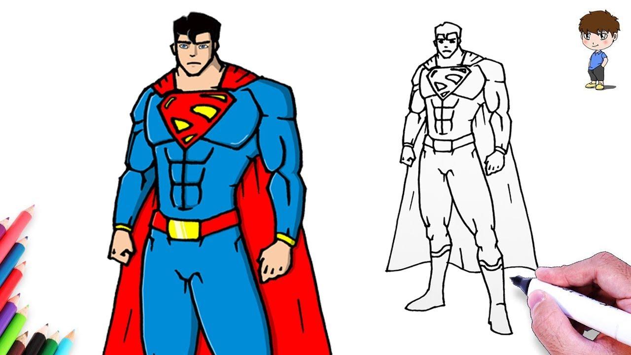Como Dibujar a Superman Paso a Paso - Dibujos para Dibujar - Dibujos Faciles Superhéroe, dibujos de Superheroes, como dibujar Superheroes paso a paso