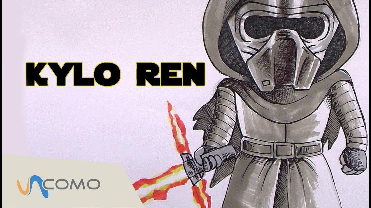 Cómo dibujar a Kylo Ren de forma fácil - Star Wars VII, dibujos de Star Wars Vii, como dibujar Star Wars Vii paso a paso