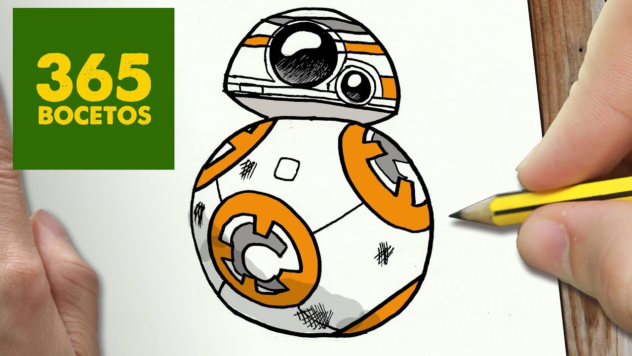 COMO DIBUJAR BB 8 DE STAR WARS KAWAII PASO A PASO - Dibujos kawaii faciles - How to draw a BB 8, dibujos de Star Wars, como dibujar Star Wars paso a paso