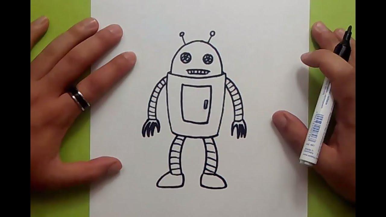 Como dibujar un robot paso a paso 8  How to draw a robot 8, dibujos de Robots, como dibujar Robots paso a paso