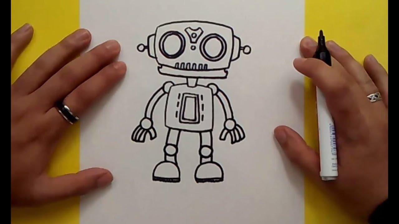 Como dibujar un robot paso a paso 6  How to draw a robot 6, dibujos de Robots, como dibujar Robots paso a paso