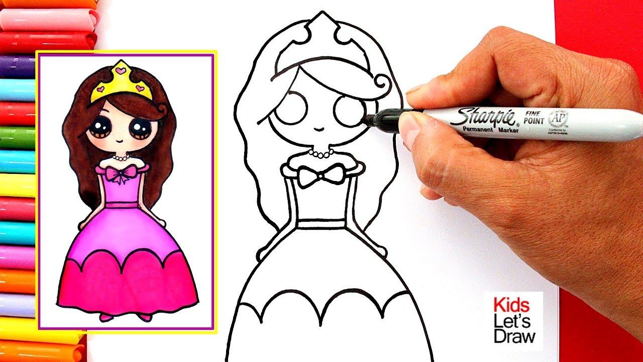 Aprende a dibujar una PRINCESA Kawaii Fácil How to draw a Cute Girl dressed as Princess, dibujos de Una Princesa, como dibujar Una Princesa paso a paso