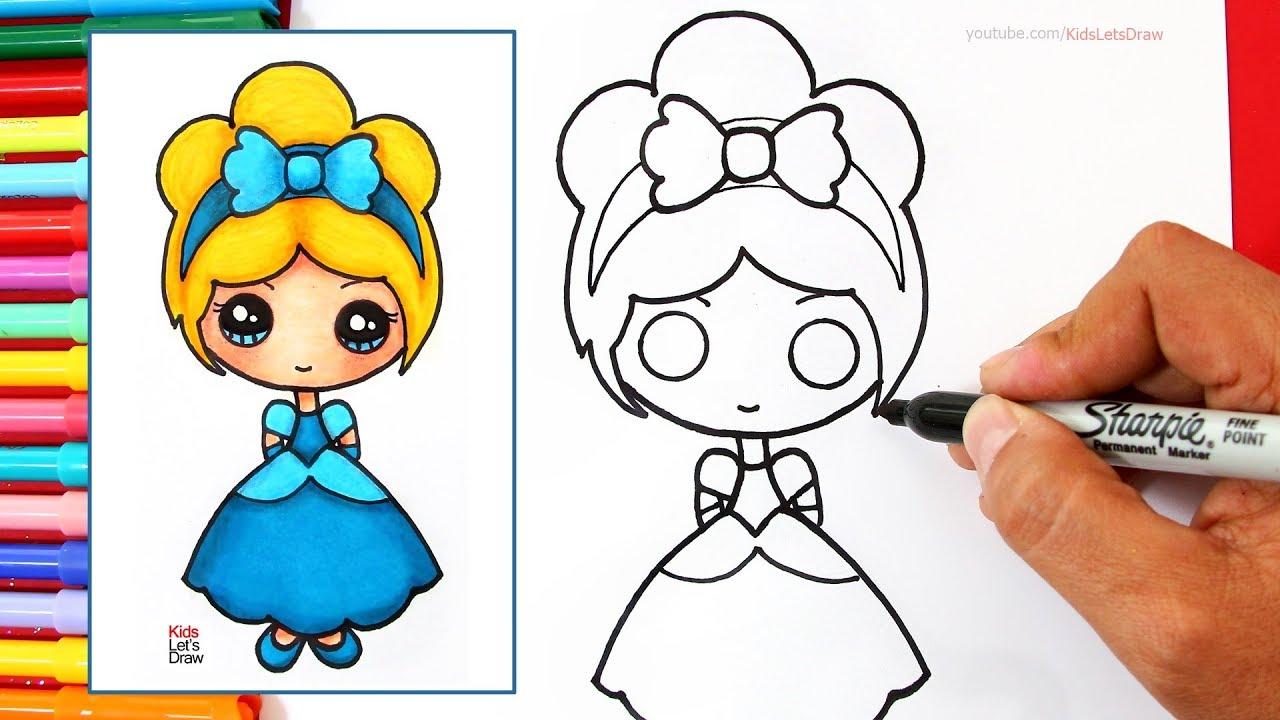 Cómo dibujar una PRINCESA Disney Kawaii (CENICIENTA) How to Draw Cute Cinderella, dibujos de Una Princesa, como dibujar Una Princesa paso a paso