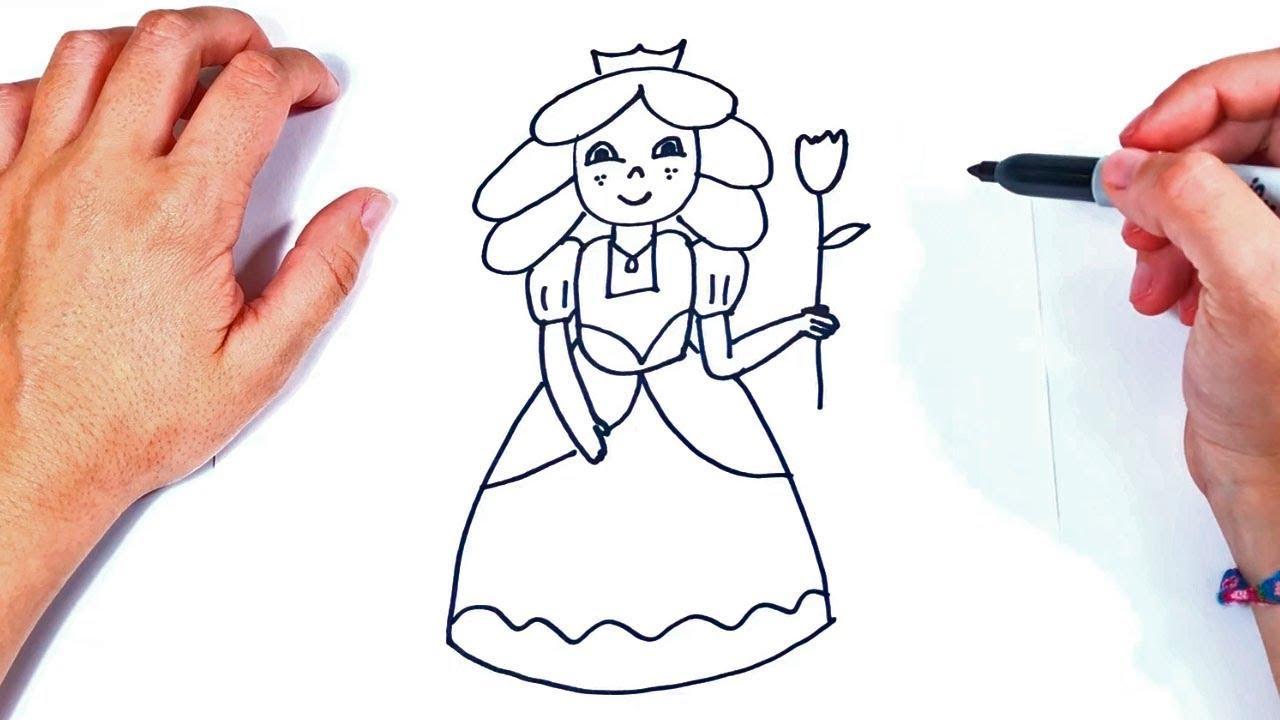 Cómo dibujar un Princesa paso a paso y fácil, dibujos de Una Princesa, como dibujar Una Princesa paso a paso