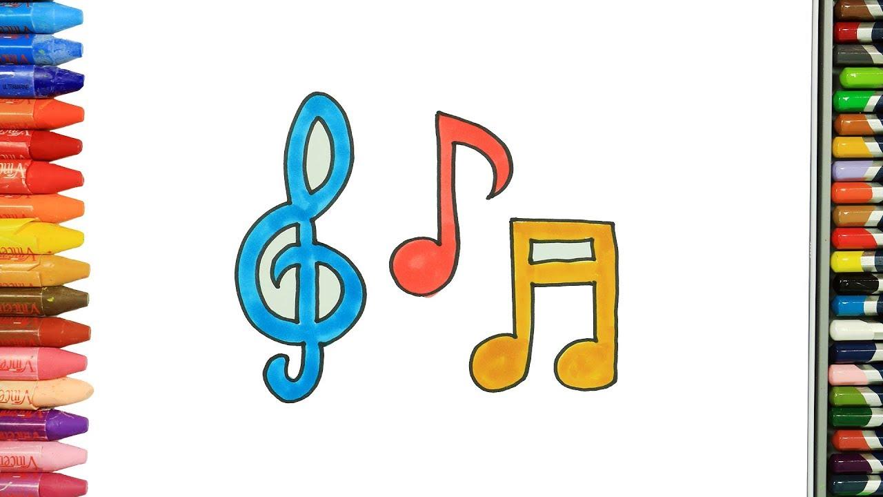 Cómo Dibujar y Colorear notas musicales Dibujos Para Niños, dibujos de Notas Musicales, como dibujar Notas Musicales paso a paso