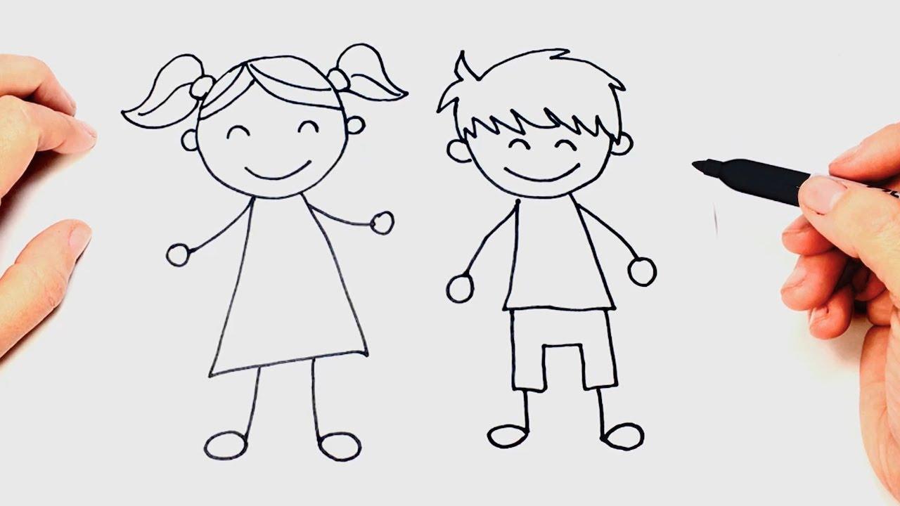 Cómo dibujar un Niños paso a paso Dibujo fácil de Niños, dibujos de Niños, como dibujar Niños paso a paso