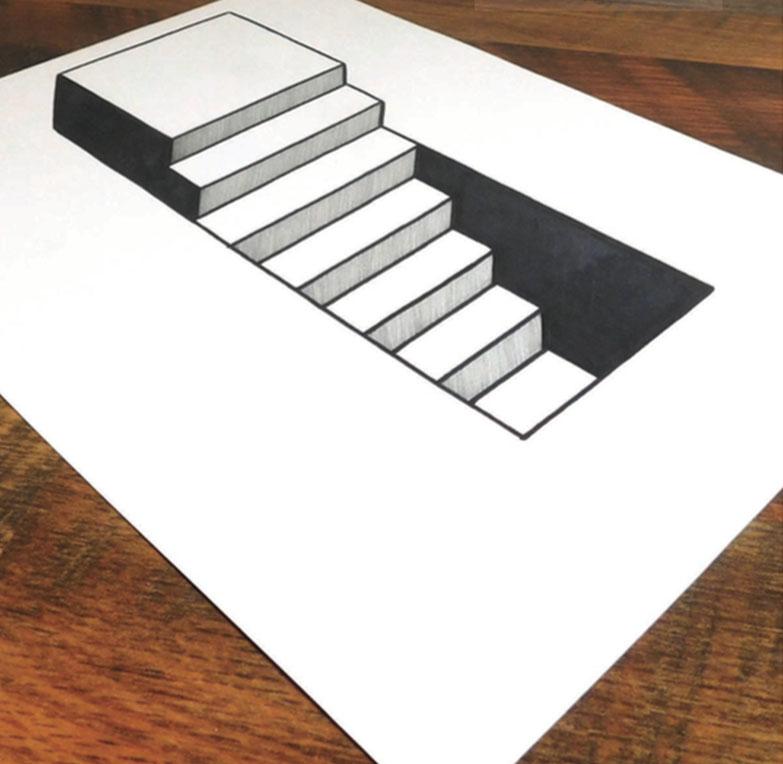 pasos 7, El arte de dibujar ilusiones ópticas