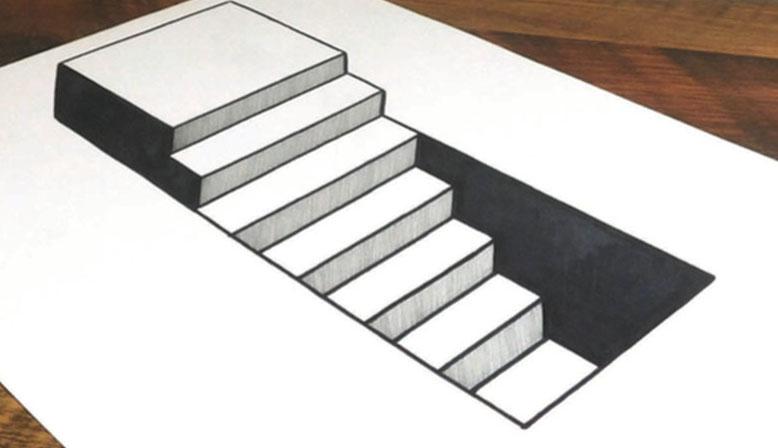 pasos, el arte de dibujar ilusiones ópticas